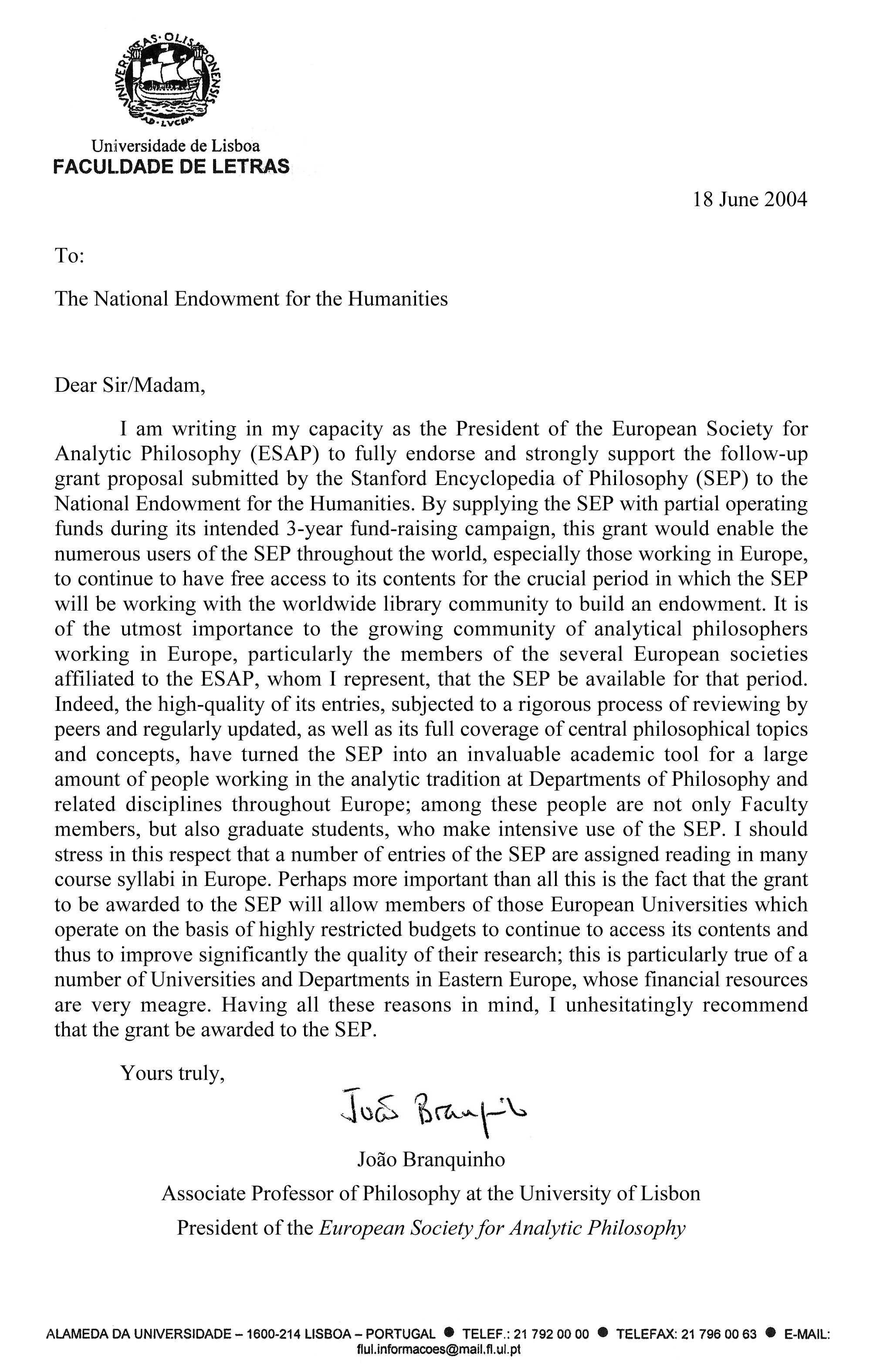 ESAPu0027s Letter In Support Of NEH Grant
